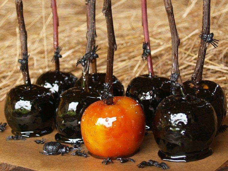 arañas manzanas caramelo negro