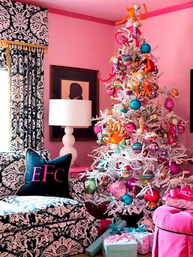 arbol de navidad precioso blanco decoracion rosa ideas
