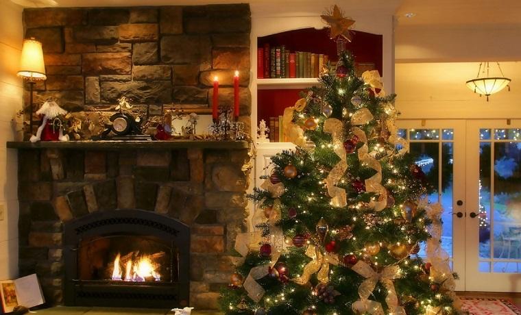 arbol navidad precioso chimenea tradicional ideas