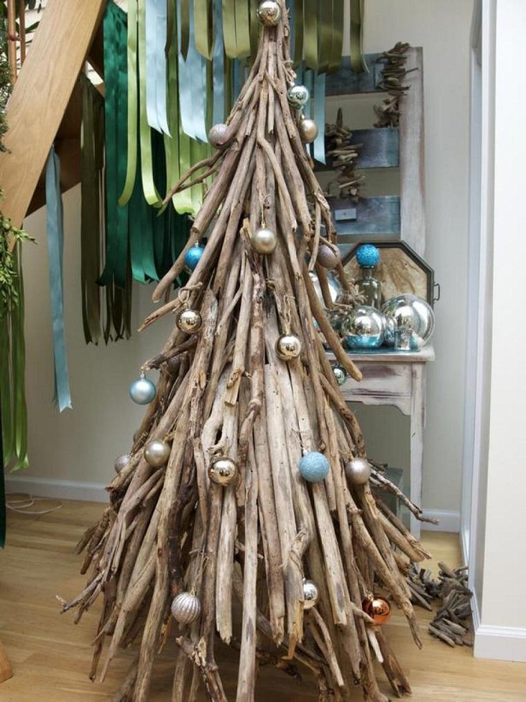 arbol de navidad precioso palos madera bolas arbol navidad ideas