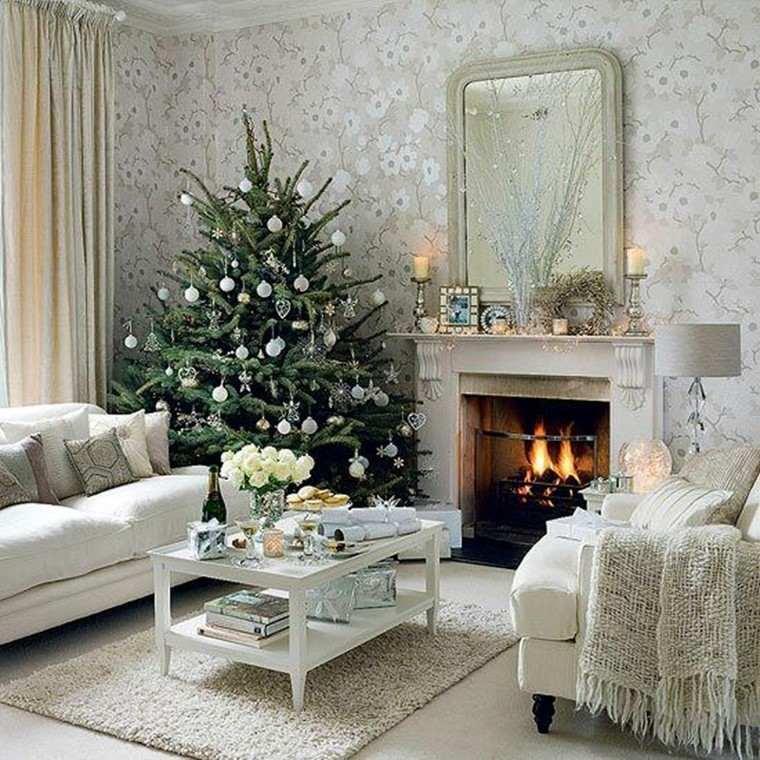 arbol de navidad precioso salon blanco ideas