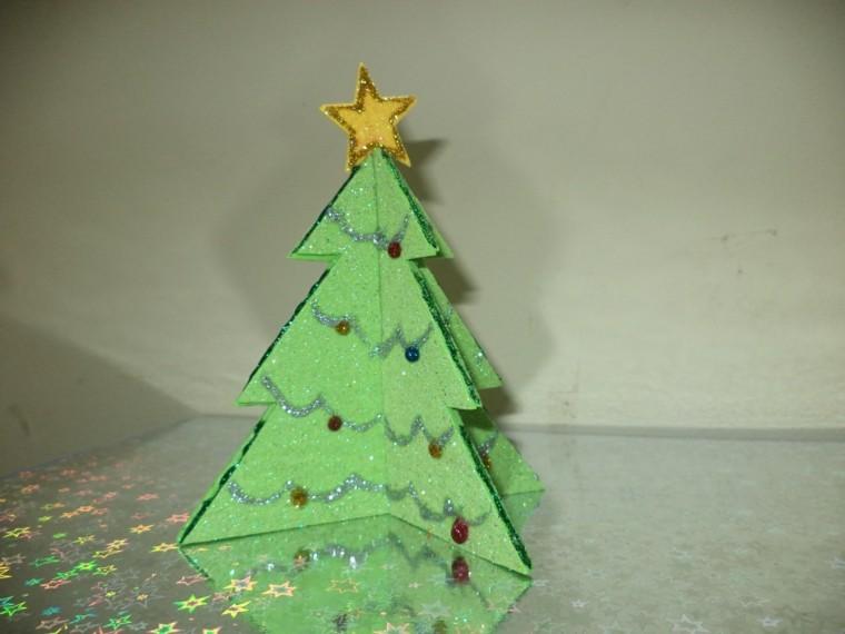 arbol luminarias carton estrellas verde