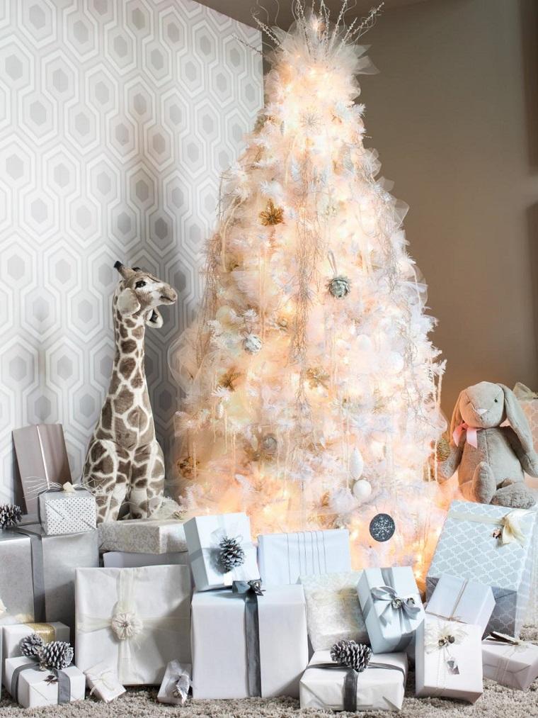 arbol navidad precioso blanco regalos salon ideas