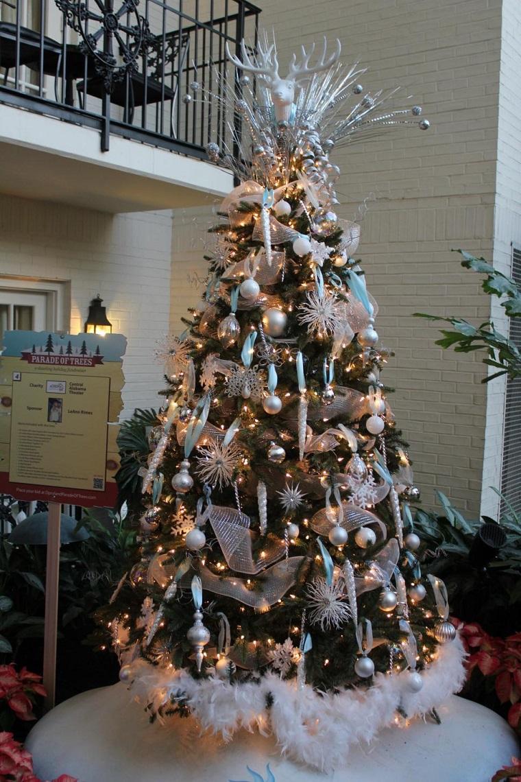 arbol navidad precioso cabeza reno plata ideas