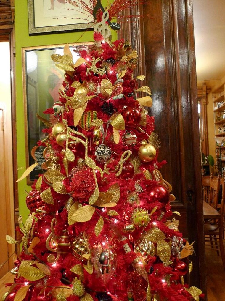 arbol navidad precioso color rojo oro ideas