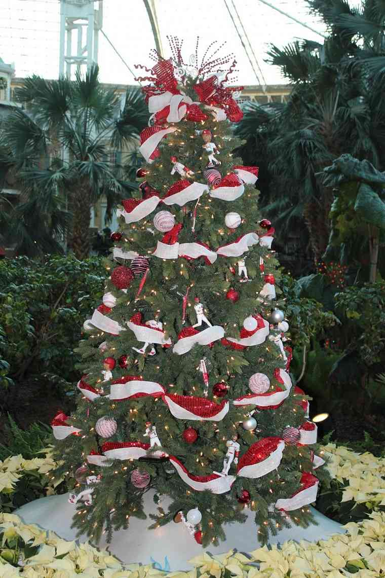 arbol navidad precioso guirnalda blanco rojo ideas