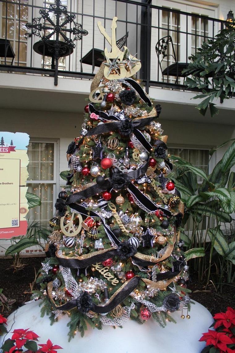 arbol navidad precioso guirnalda negra ideas