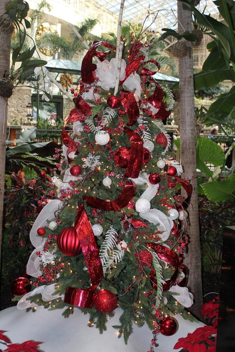 arbol navidad precioso rojo blanco ideas