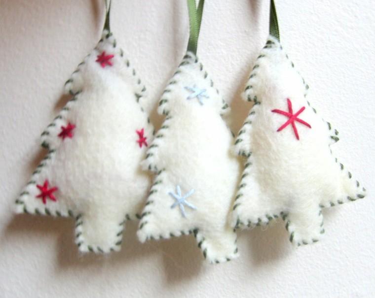 arbolitos navidad tela blanca