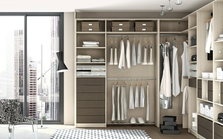 estantes armario color beige vestidor
