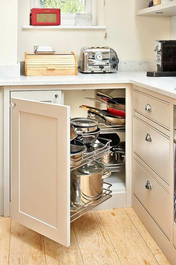 armario elegante esquina cocina madera blanca ideas