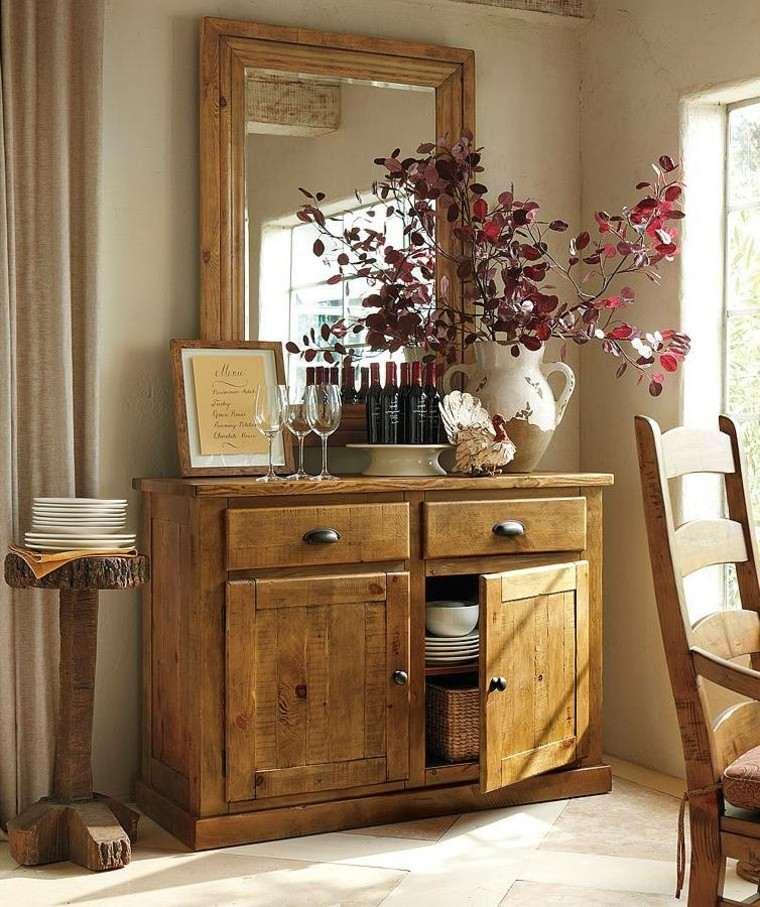 armario madera espejo grande hojas secas arbol decorativas ideas