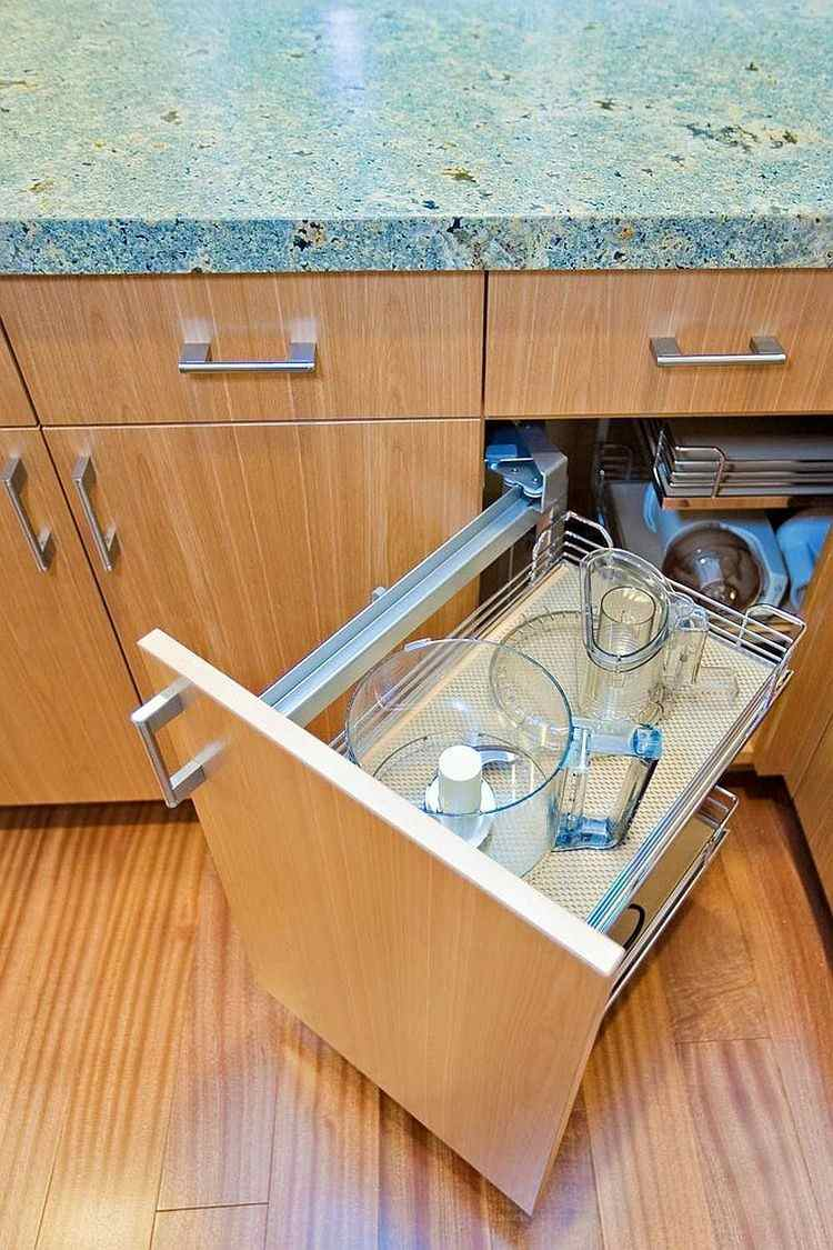 armario original cocina moderna suelo madera ideas