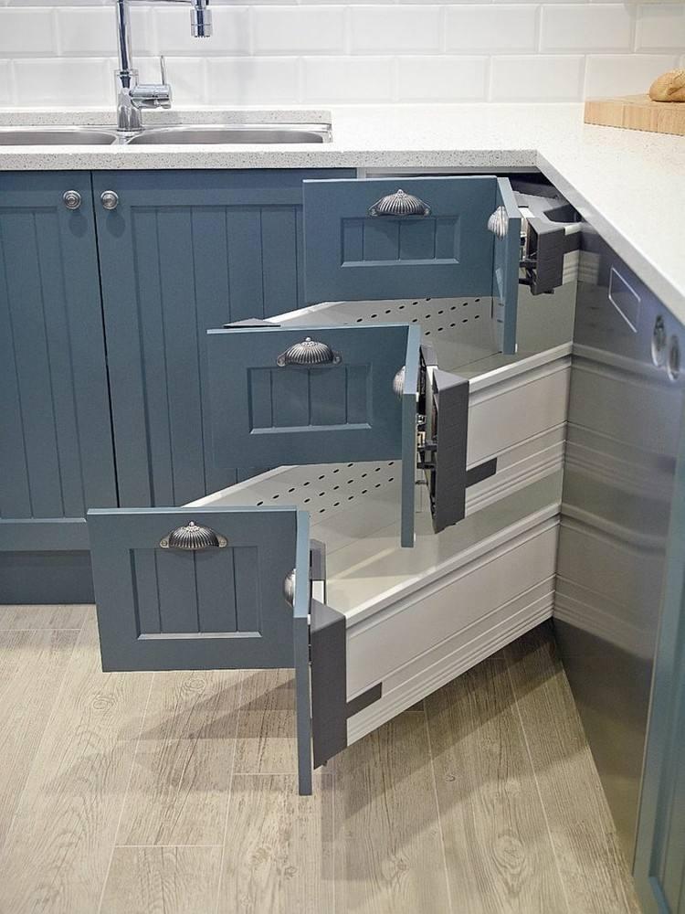 armarios azules cajones esquineros cocina moderna ideas