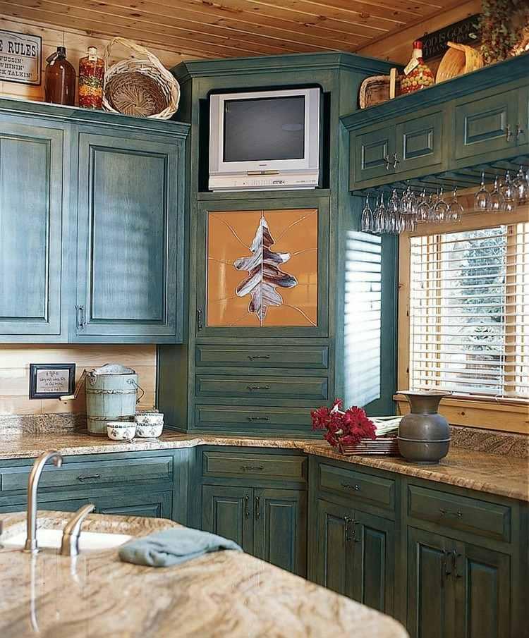 estante cocina madera verde cajones esquina ideas