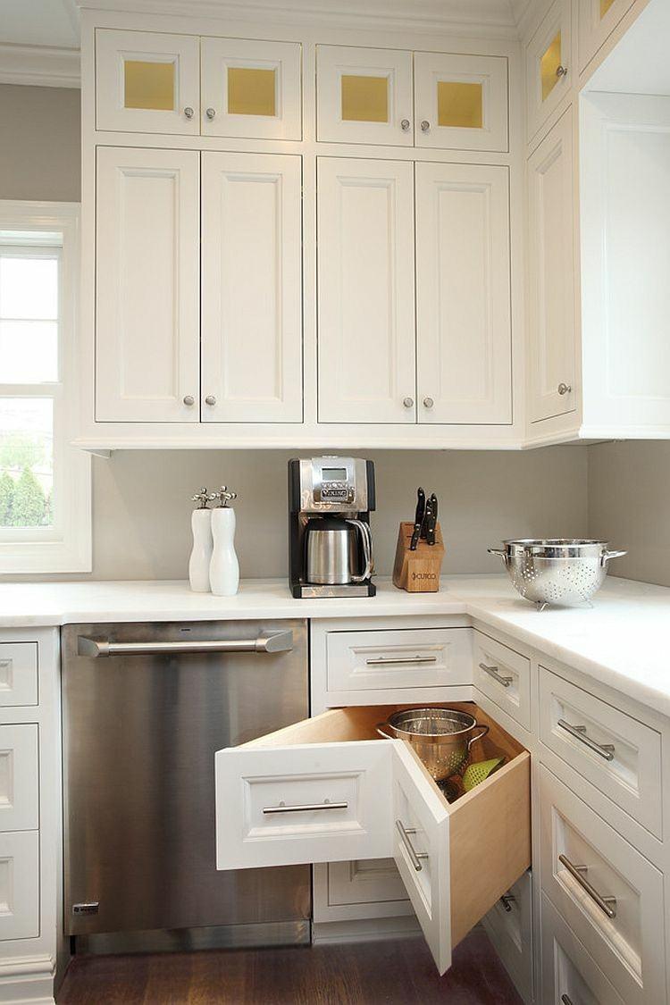 armarios esquineros blancos cocina cajones moderna ideas