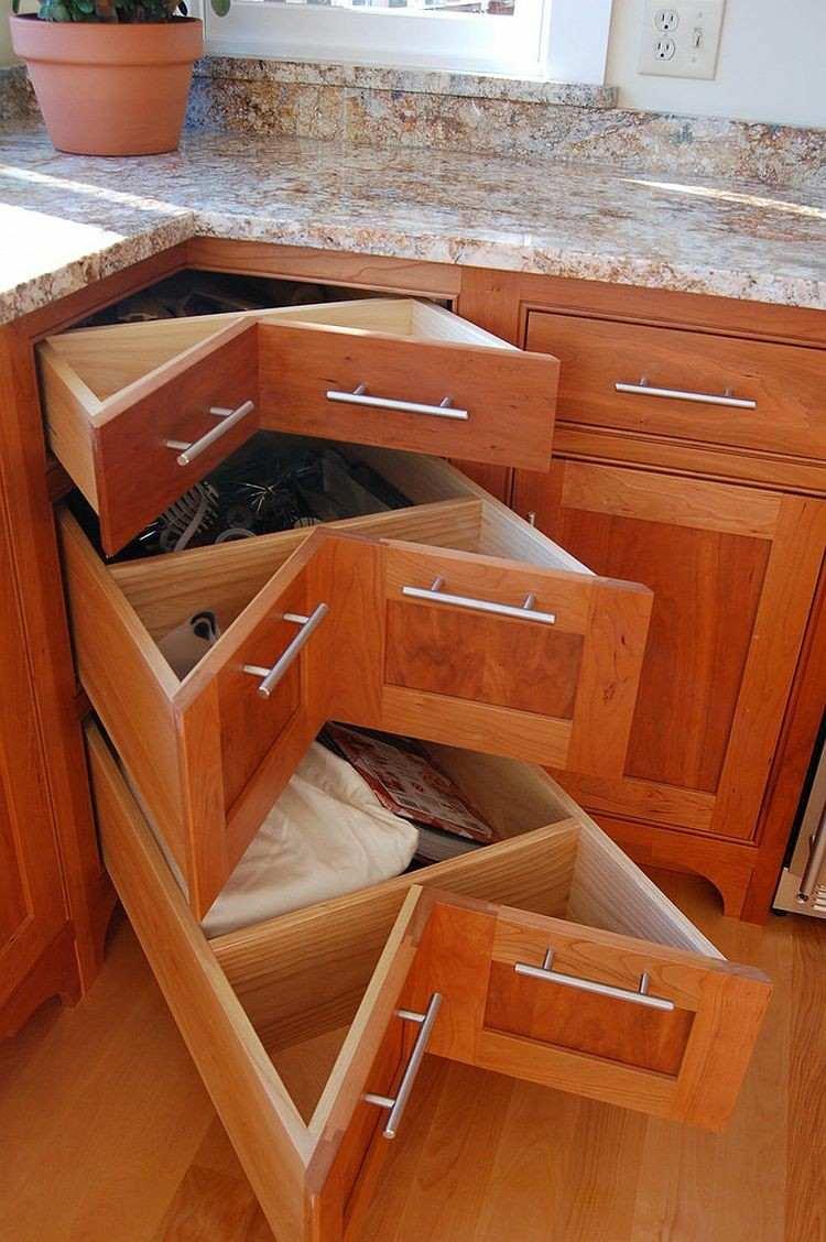 armarios esquineros encimera granito cocina moderna ideas