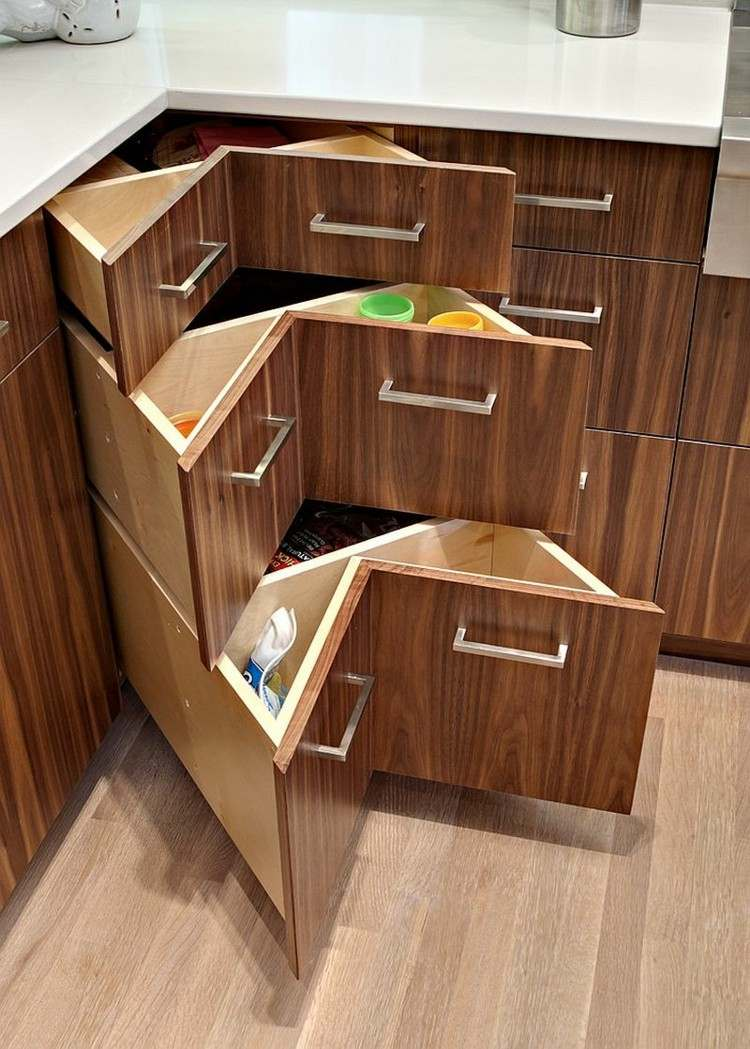 armarios esquineros madera marron cocina moderna ideas