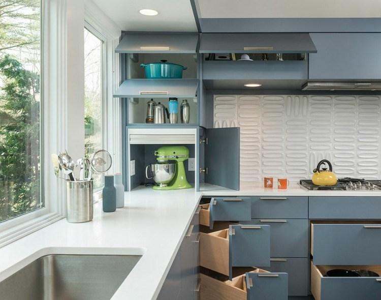 cajones grises cocina moderna pared blanca preciosa ideas