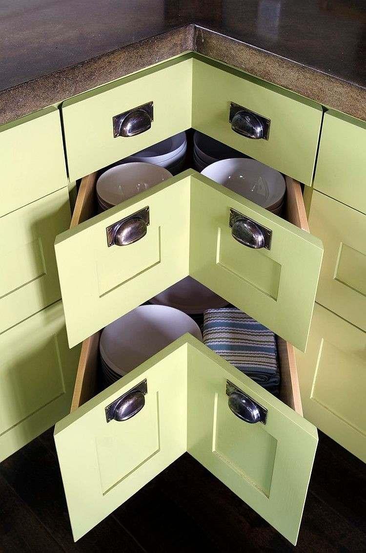armarios verdes cajones esquineros cocina utiles ideas
