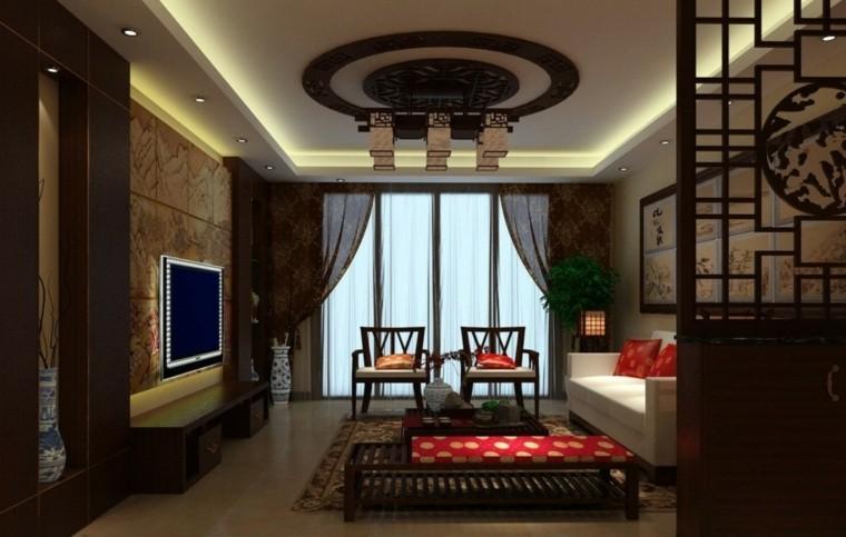 asiatico estilo paredes madera oscuro