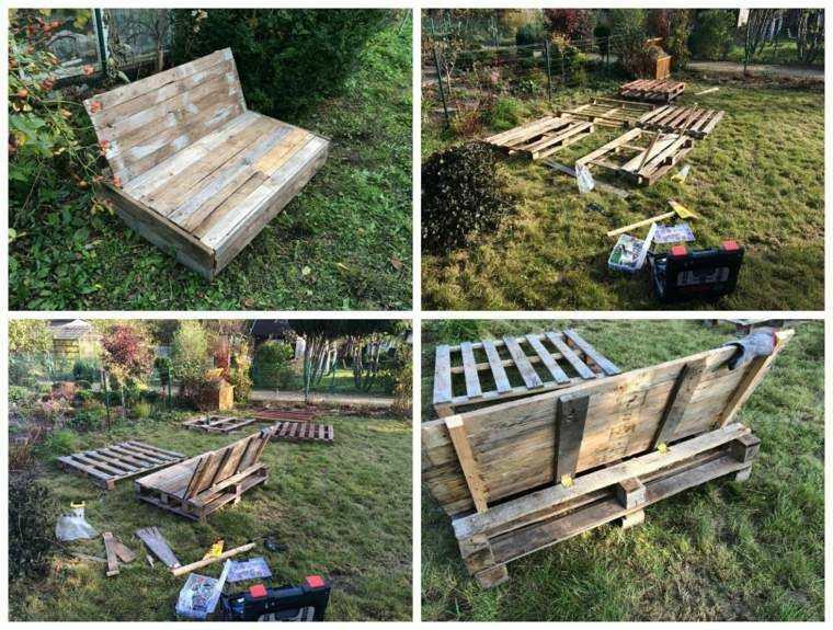 asientos jardin cajas madera palets