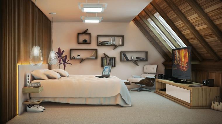 atico habitacion estilo lamparas madera