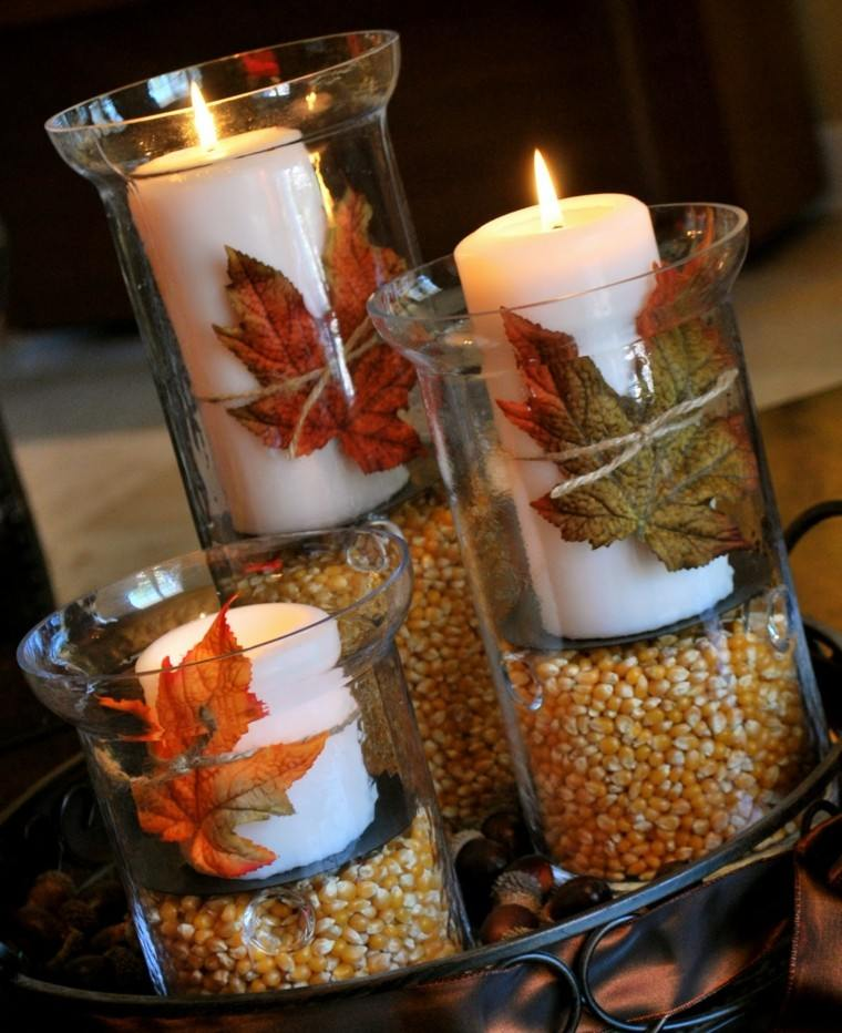 atractiva decoracion otoñal hojas secas