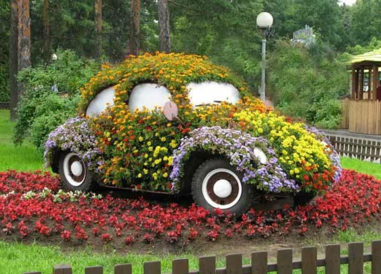 auto colorido plantas flores lampara
