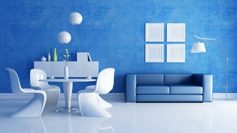 Salón moderno pintado de azul