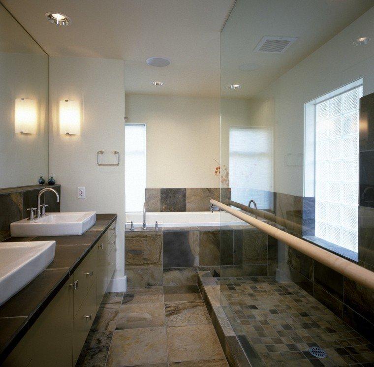 azulejos baño suelo paredes marron