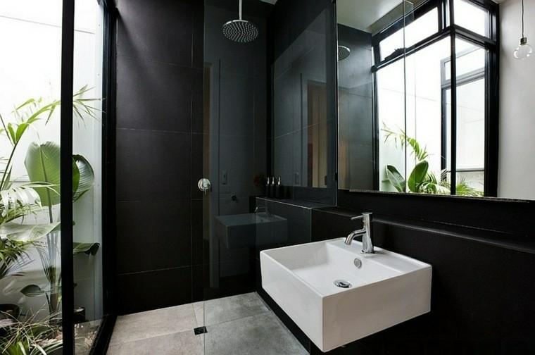 Negro gris y marr n en el cuarto de ba o 50 dise os - Ver azulejos para banos modernos ...