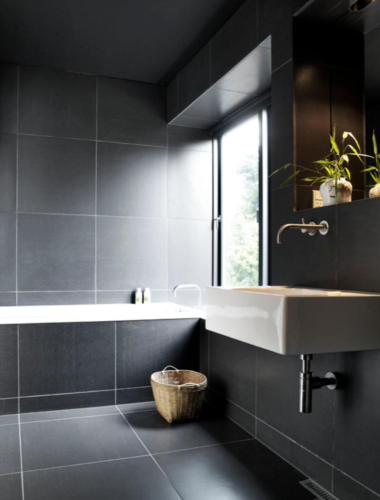 azulejos baño grandes color gris
