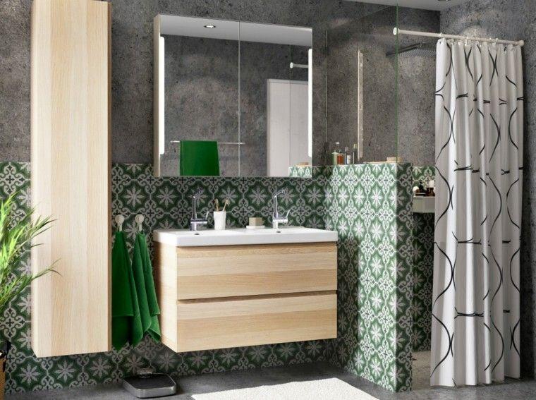 azulejos baño verdes motivos clasicos