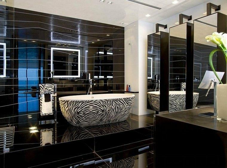 Negro, gris y marrón en el cuarto de baño   50 diseños