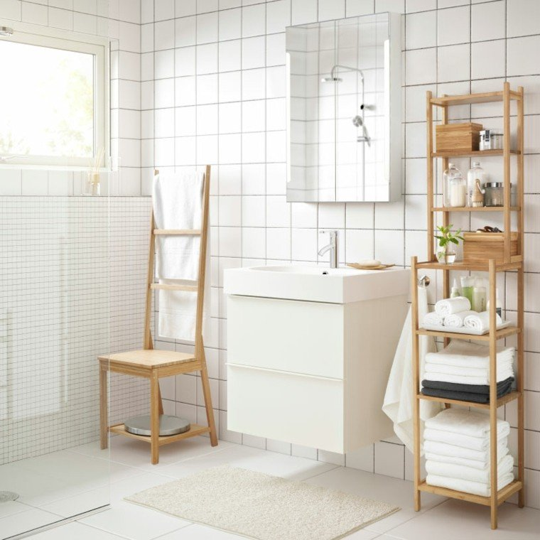 baño blanco muebles madera natural