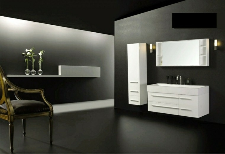 baño moderno diseño color gris