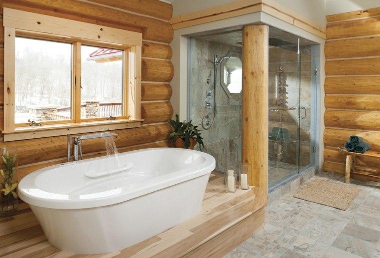 Revestimiento Baño Rustico:Diseño de baño con revestimiento de troncos madera