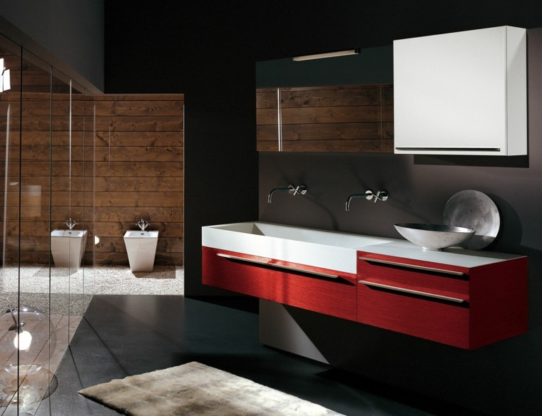 baño cabina ducha lavabo rojo