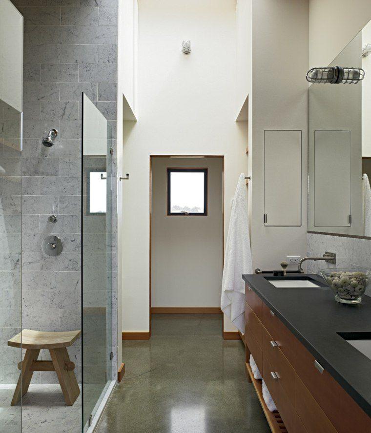 baño estilo zen suelo cemento