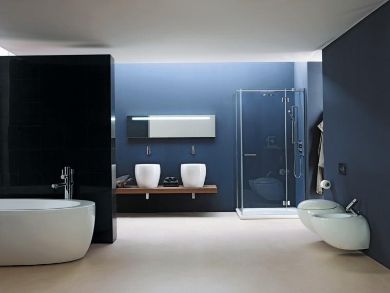 baño modderno color azul negro