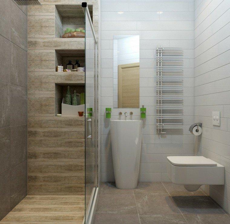 Ba o pequeno moderno con ducha for Bano pequeno moderno