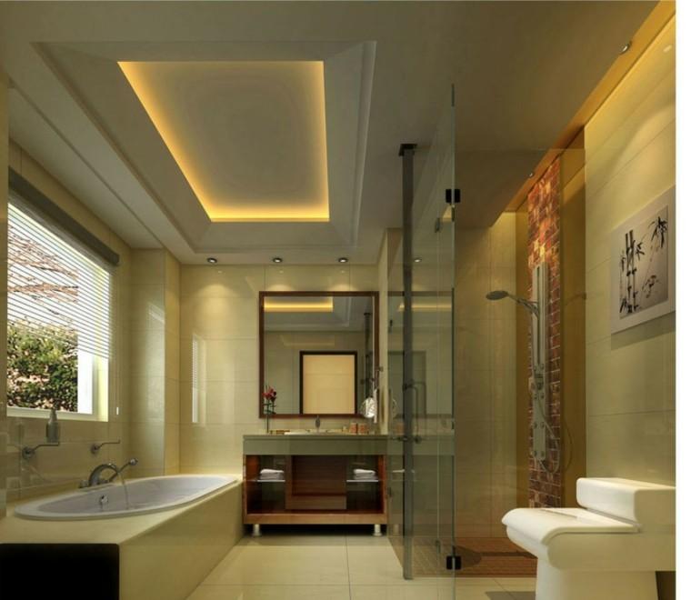 diseño baño moderno color beige