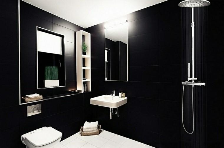 Baño Porcelanato Gris:Negro, gris y marrón en el cuarto de baño – 50 diseños