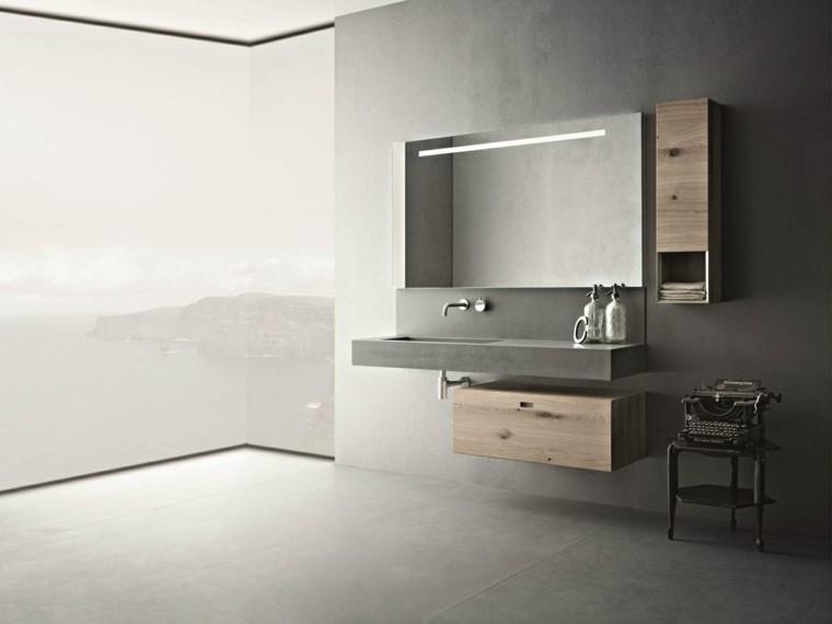 baño moderno muebles madera cemento