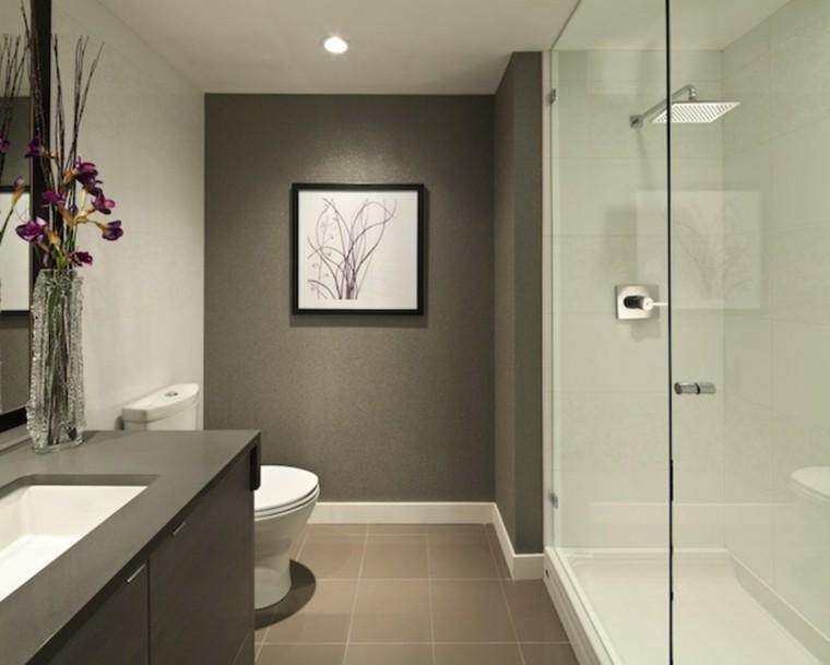 baño pequeño pared color gris