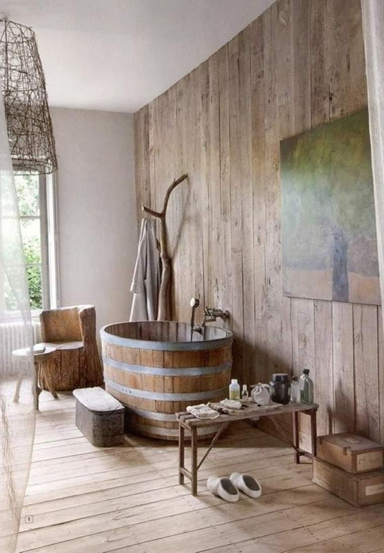 baño estilo rustico bañera barril madera