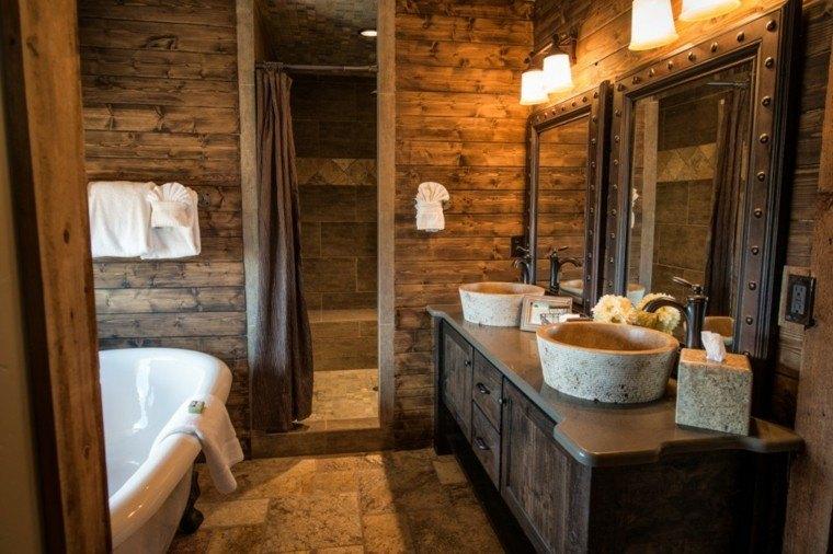 Cuartos de ba o rusticos 50 ideas con madera y piedra for Decoracion piso bajo