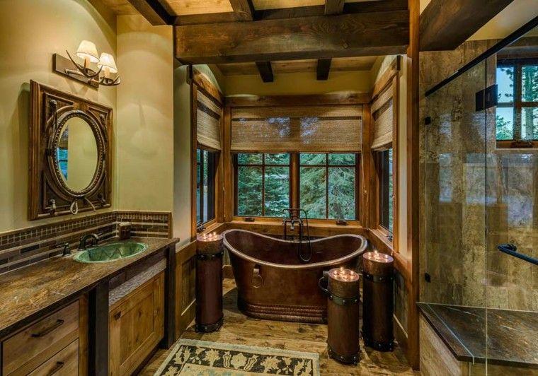 Baños Rusticos Ideas:Cuartos de baño rusticos – 50 ideas con madera y piedra
