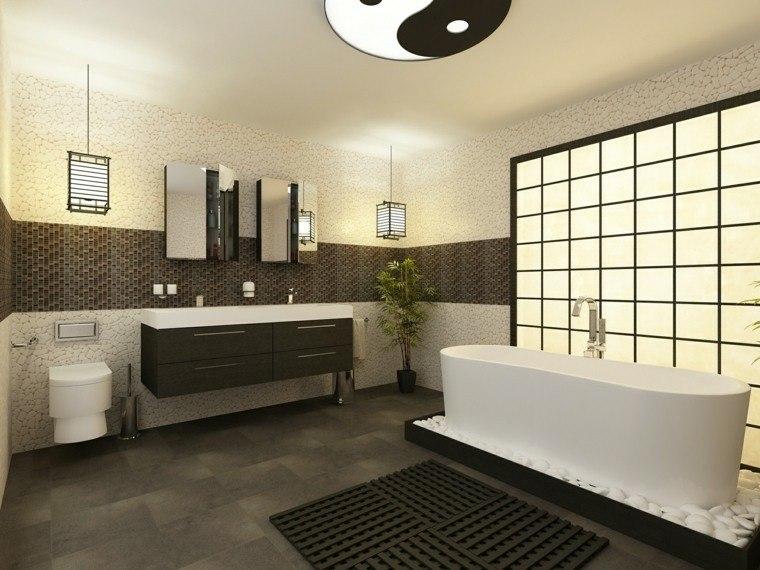 Negro gris y marr n en el cuarto de ba o 50 dise os - Dalle autocollante salle de bain ...